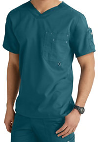 Grey's Anatomy Men's 3 Pocket High V-neck Scrub Tops