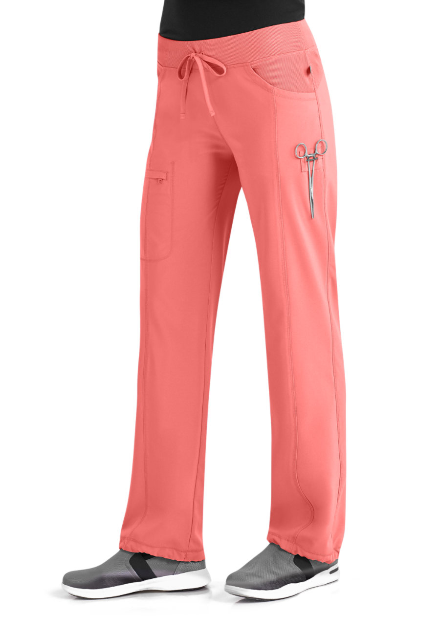 Infinity By Cherokee Low Rise Straight Leg Drawstring Scrub Pants With Certainty - Apricot Delight