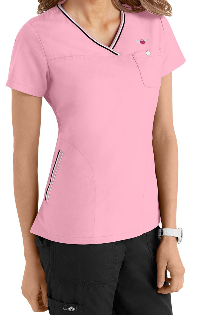 Koi Ashley Contrast Trim Scrub Tops - Blush - 2X plus size,  plus size fashion plus size appare