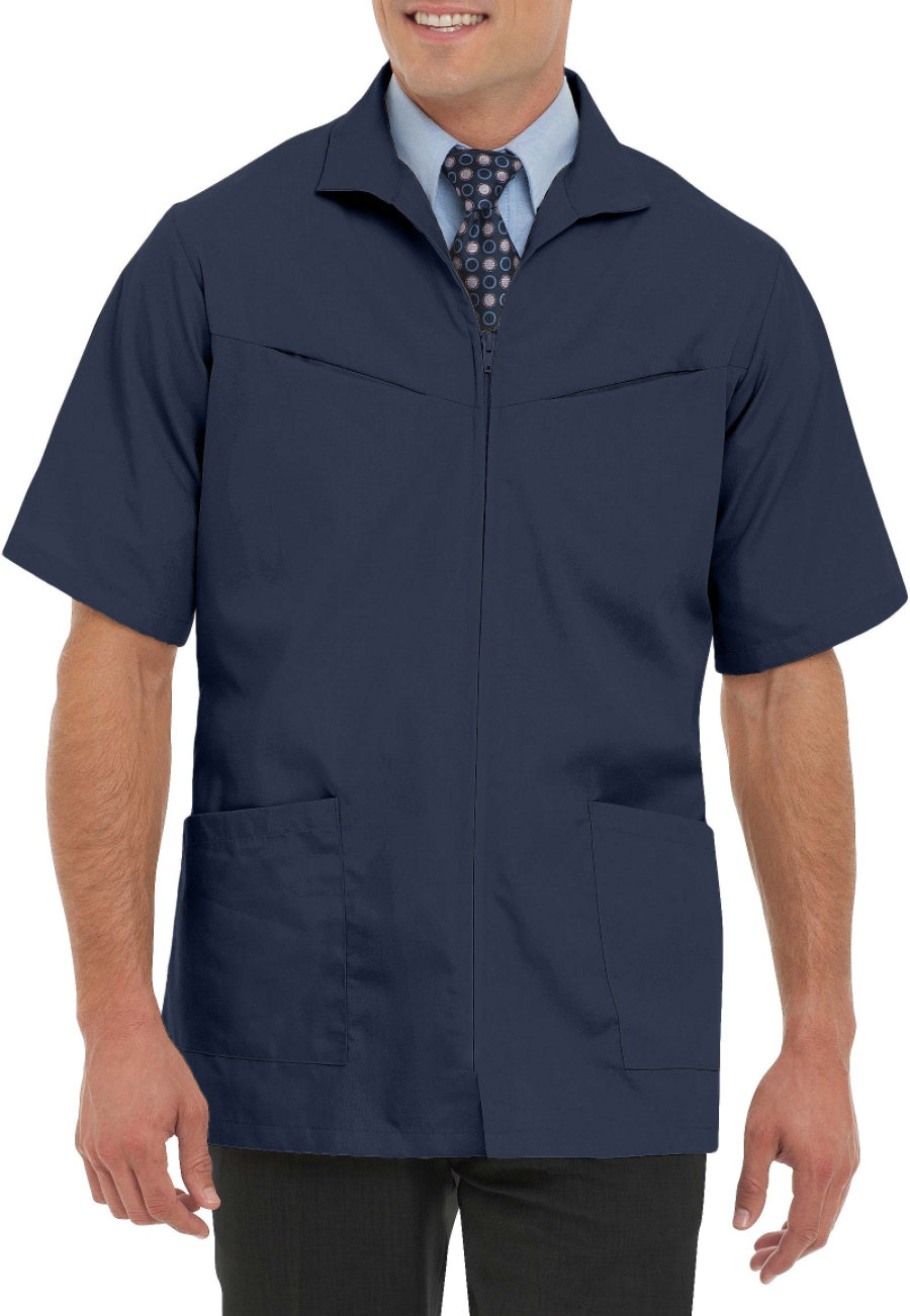 Landau Men's Professional Short Sleeve Zip Front Scrub Jackets - Navy - 48 plus size,  plus size fashion plus size appare