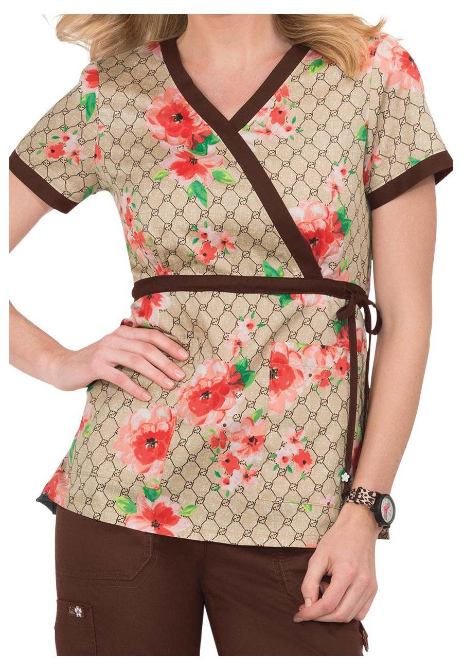 Koi Kathryn Designer Floral Mock Wrap Print Scrub Tops