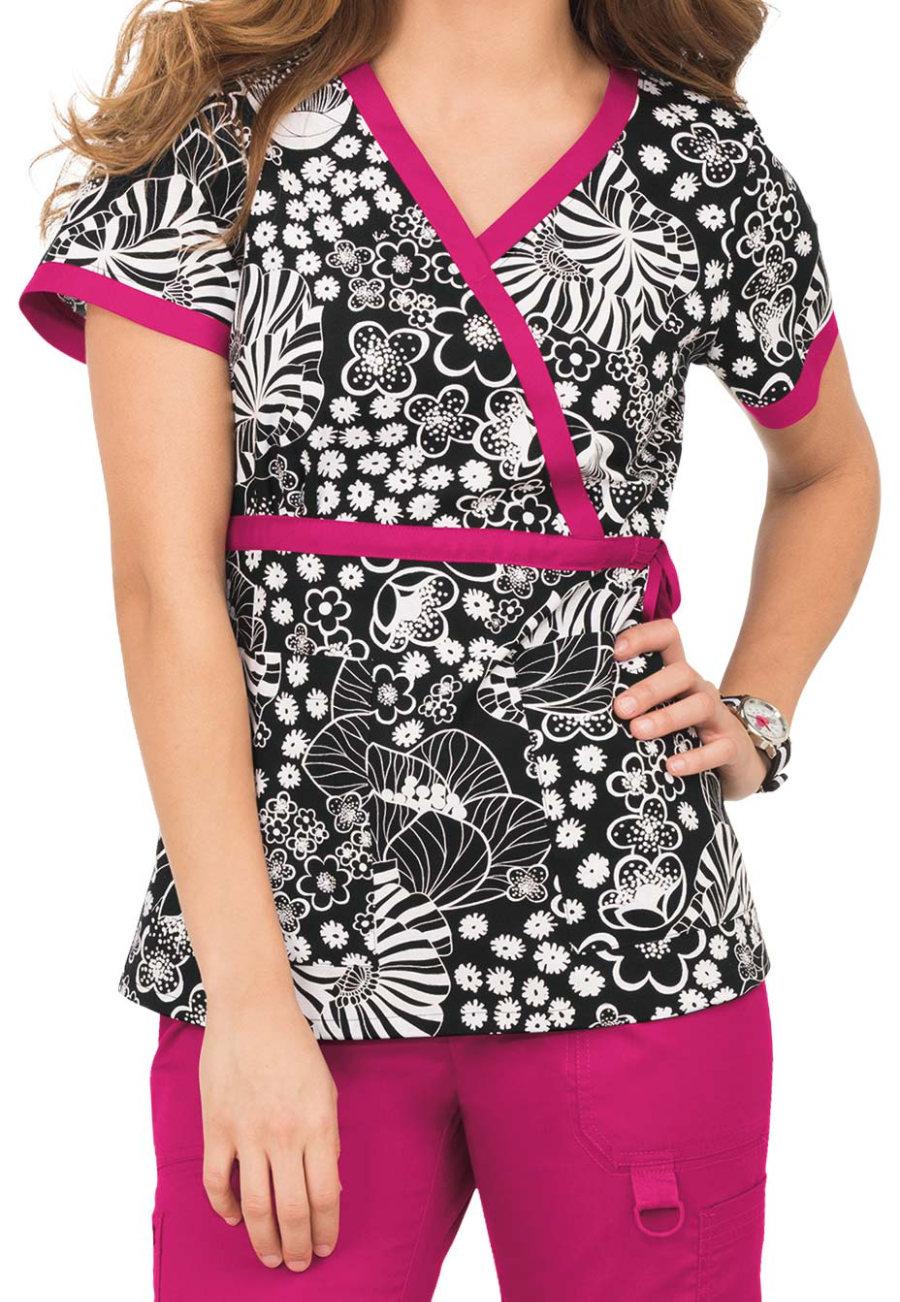 Koi Kathryn Succulent Floral Mock Wrap Print Scrub Top