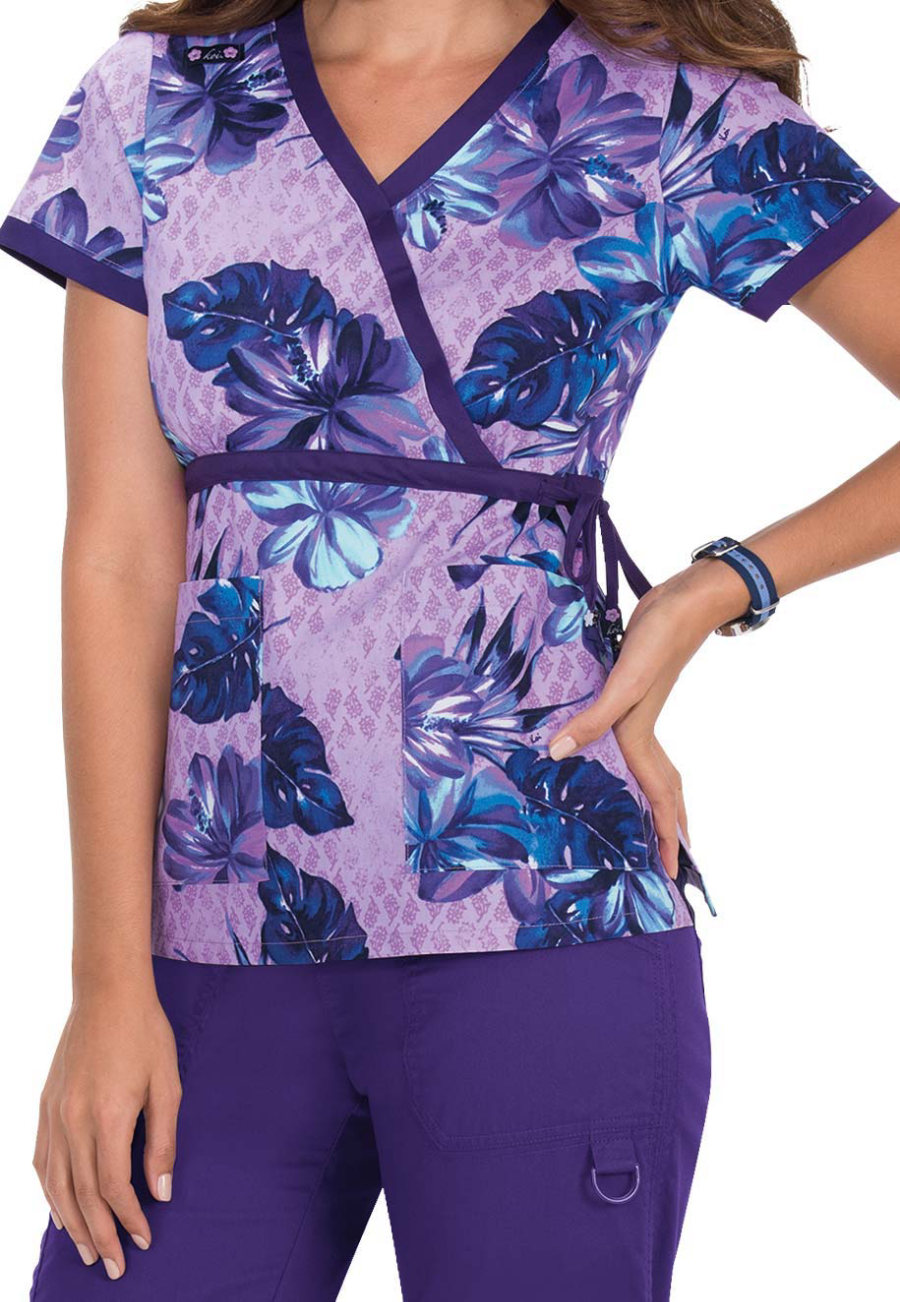 Koi Kathryn Vintage Hibiscus Mock Wrap Print Scrub Tops - Vintage Hibiscus - XL plus size,  plus size fashion plus size appare