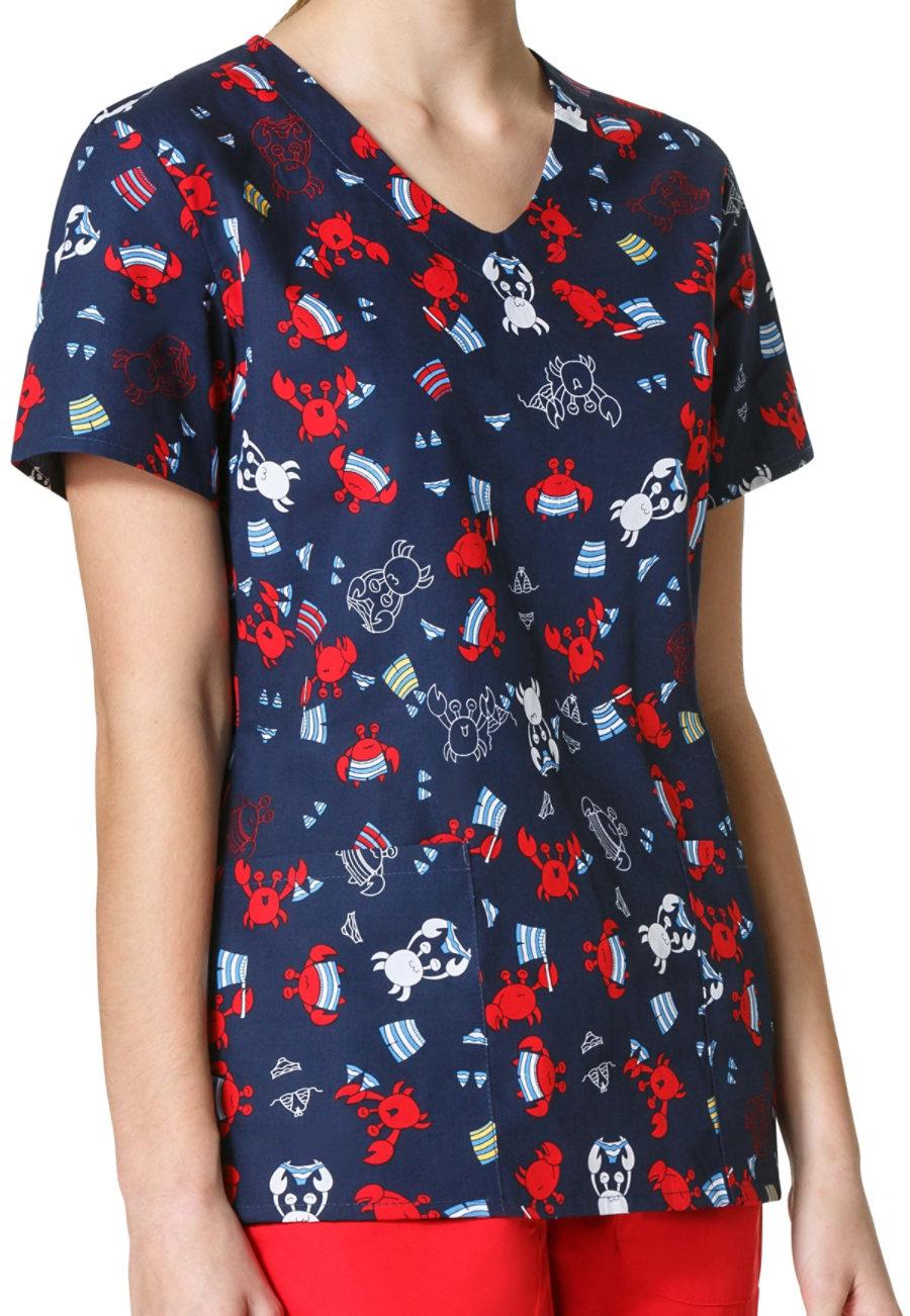 Zoe + Chloe Crabby Pants V-neck Print Scrub Top
