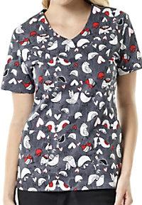 Zoe + Chloe Love Birds Print Scrub Tops