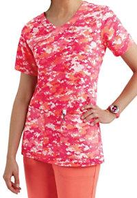 Carhartt Cross-Flex Digi Camo Pink Y-neck Print Scrub Tops