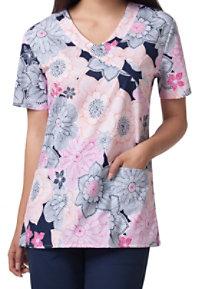 Zoe + Chloe Pop Floral Mock Wrap Print Scrub Tops