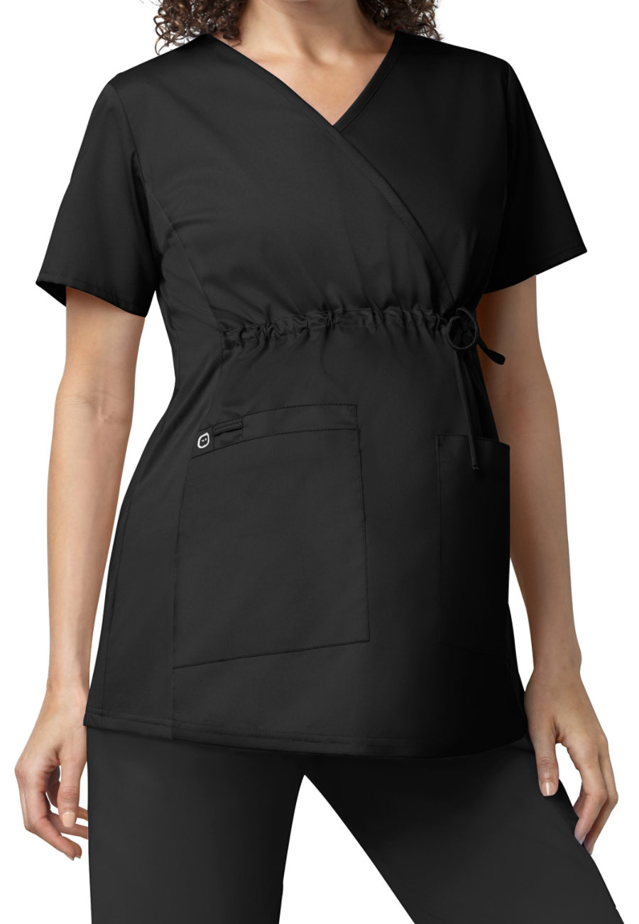 WonderWork Maternity Mock Wrap Tops - Black - 2X