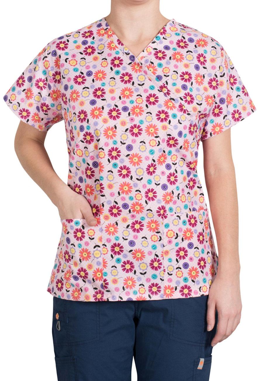 Bonita Cute As A Button Mock-wrap Print Scrub Tops - Cute As A Button print