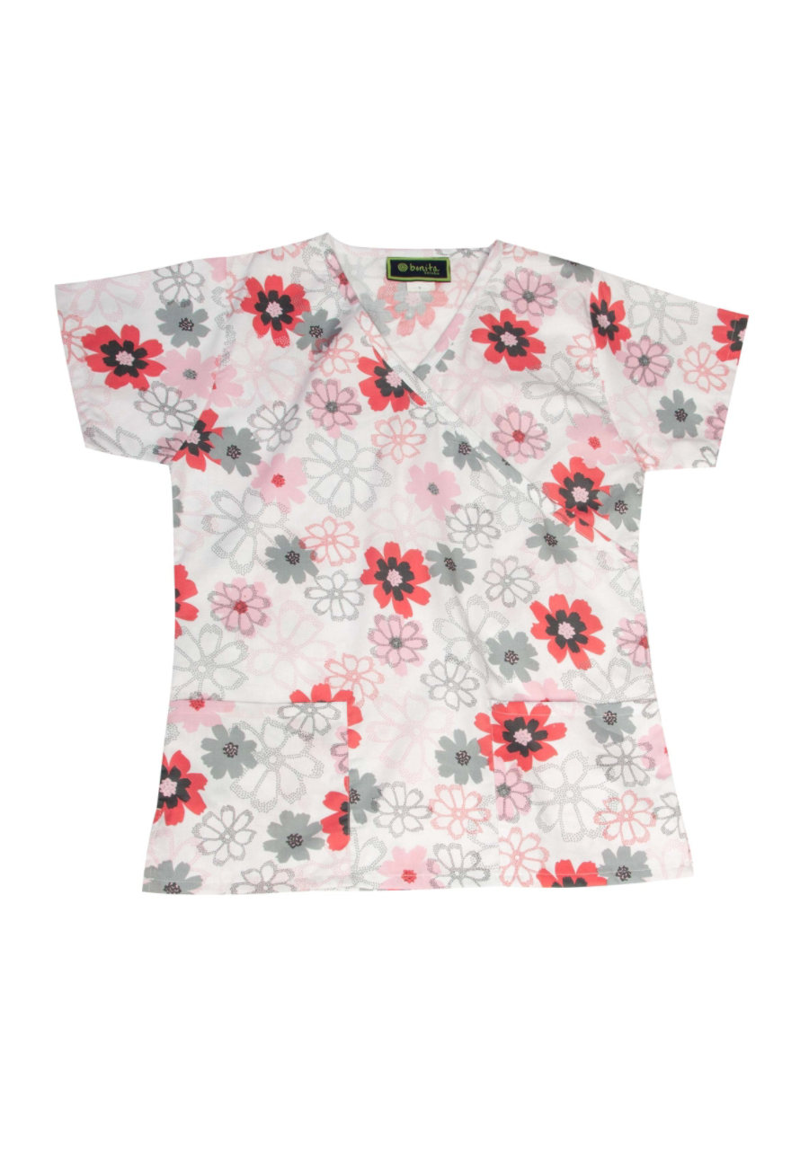 Bonita Dotted Flowers Print Scrub Tops - Dotted Flowers