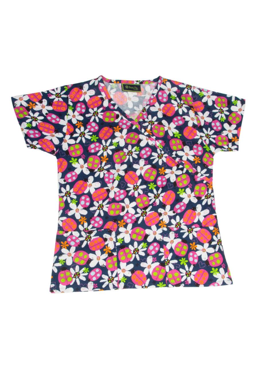 Bonita Daisy Ladybug Print Scrub Tops - Daisy Ladybug