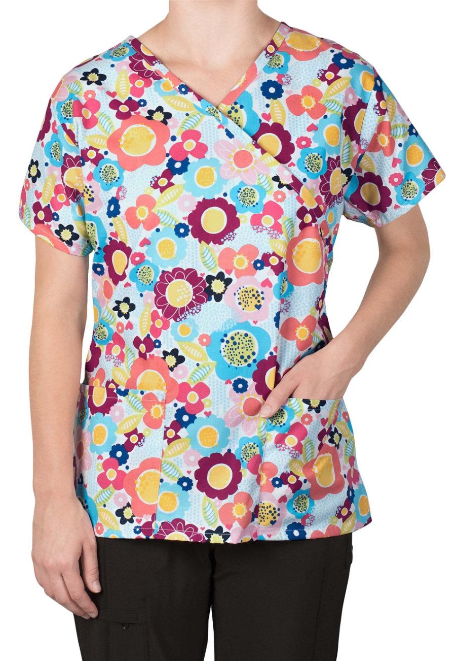 Bonita Daisy Party Print Scrub Tops - Daisy Party