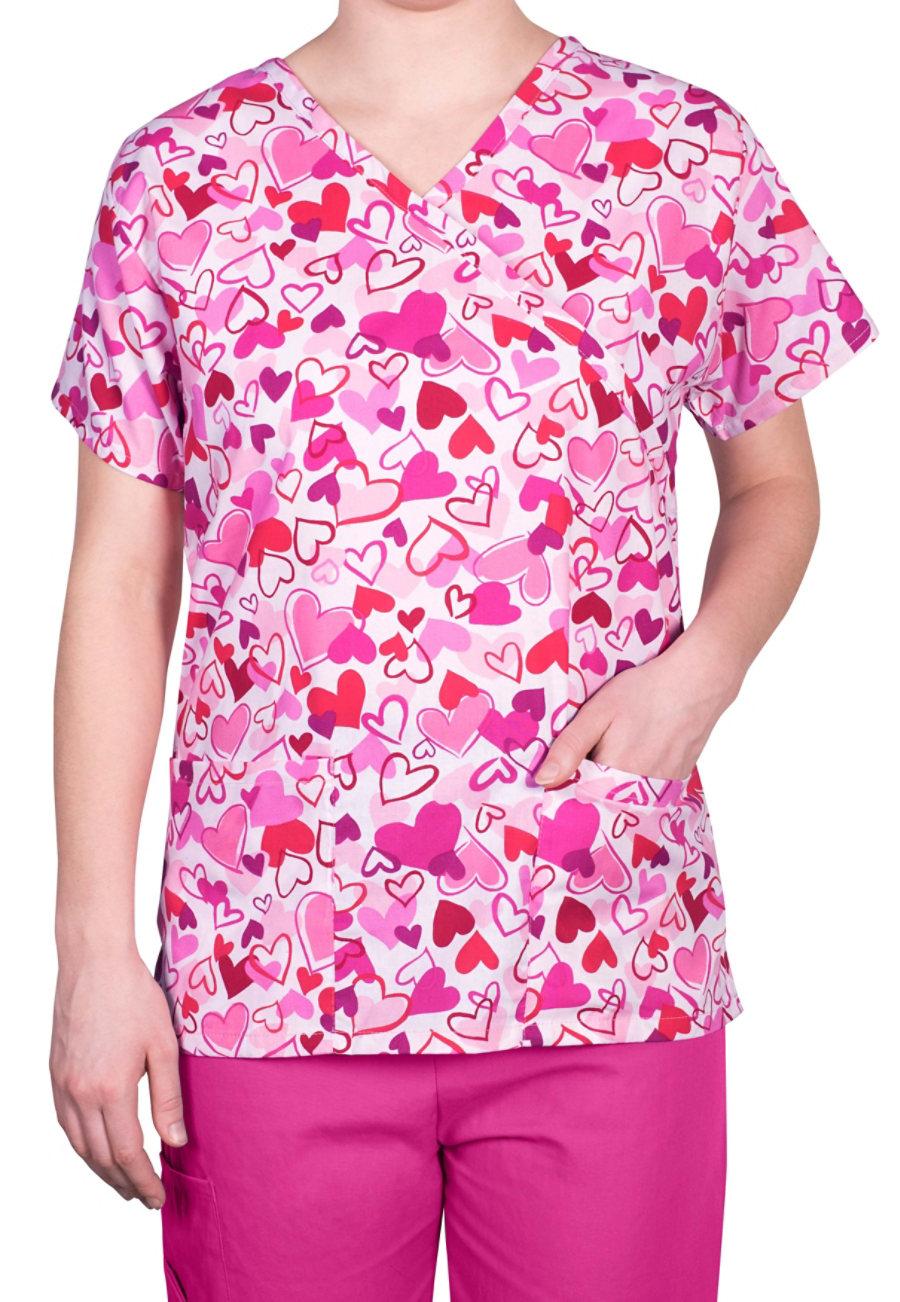 Bonita Love Struck Print Scrub Tops - Love Struck