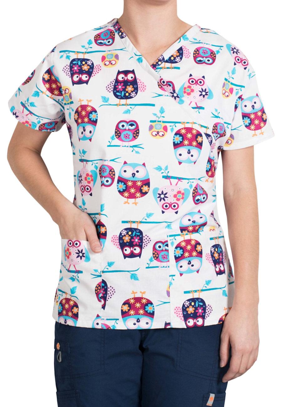 Bonita Owl Friends Mock-wrap Print Scrub Tops - Owl Friends