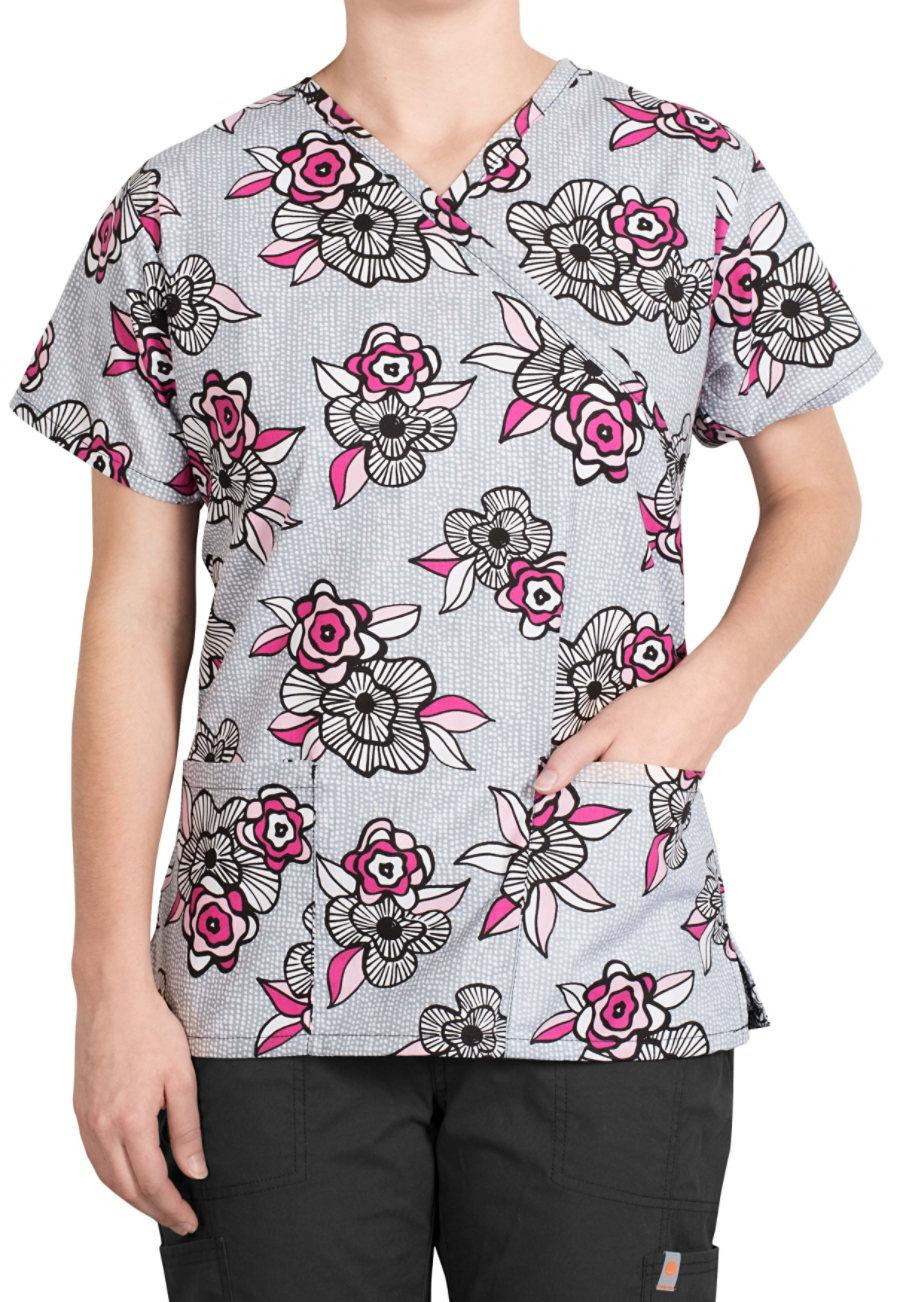 Bonita Rose Modern Mock-wrap Print Scrub Tops - Rose Modern