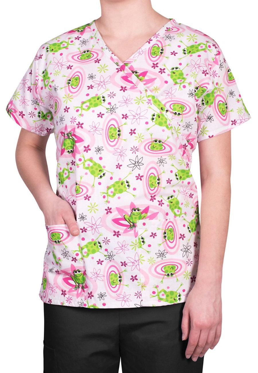 Bonita Pretty Toads Print Scrub Tops - Pretty Toads