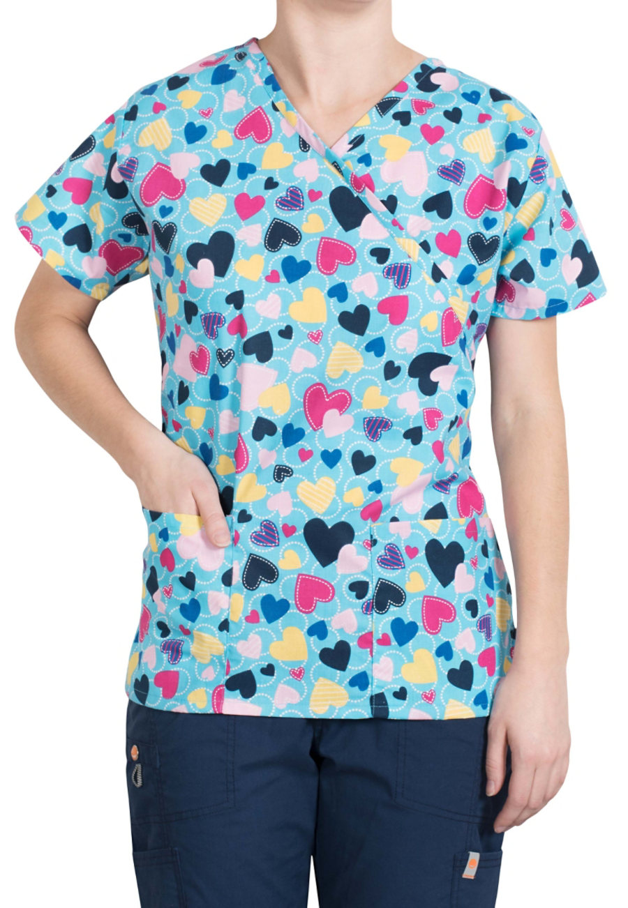 Bonita With Love Mock-wrap Print Scrub Tops - With Love
