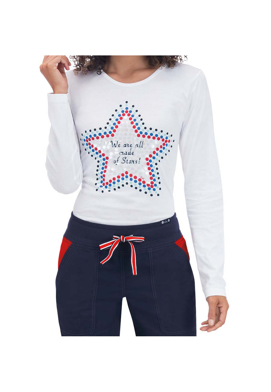 Koi Tessa Star Underscrub Tees - Star White