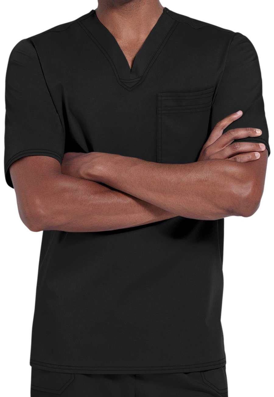 Cherokee Luxe Men's One Pocket V-neck Scrub Tops - Black - L plus size,  plus size fashion plus size appare