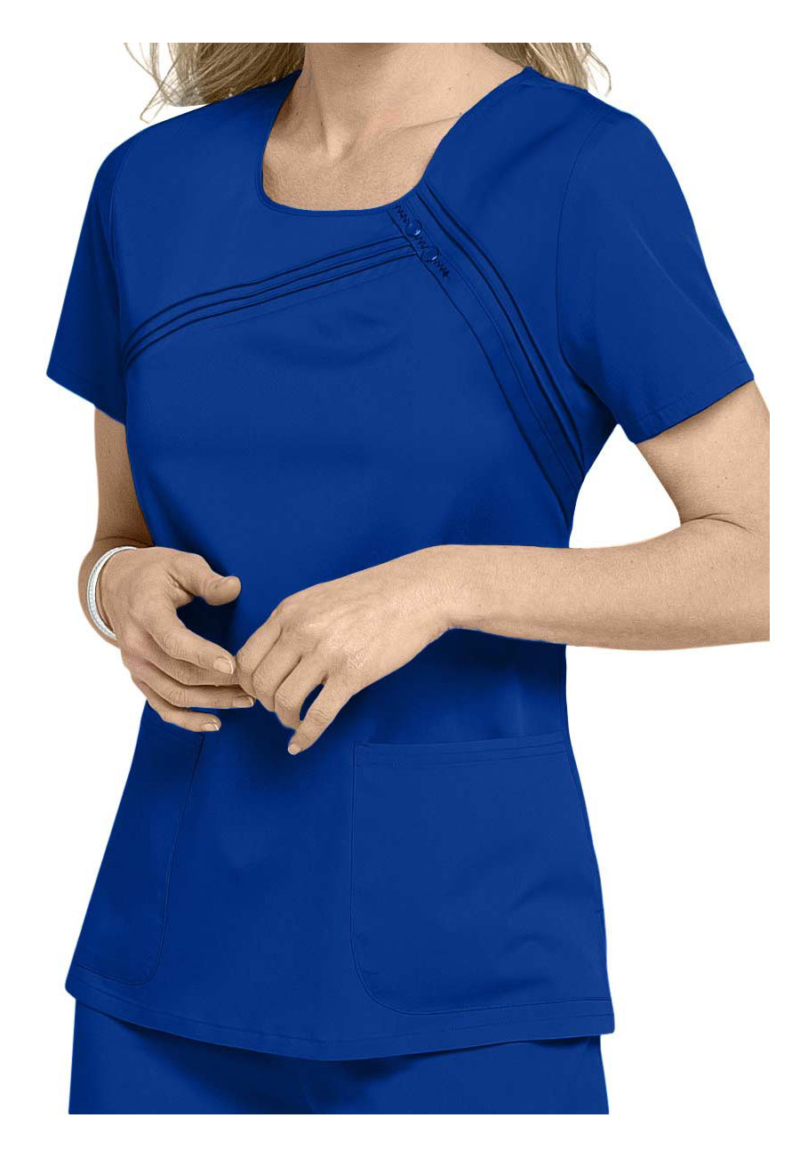 Cherokee Luxe Scoop Neck Stretch Scrub Tops - Royal - 4X plus size,  plus size fashion plus size appare