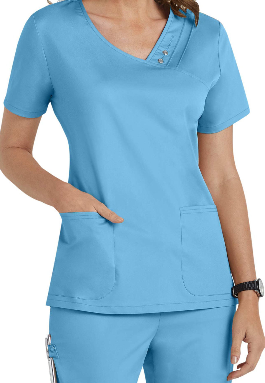 Cherokee Luxe Crossover V-neck Pintuck Scrub Tops - Blue Wave - XS plus size,  plus size fashion plus size appare
