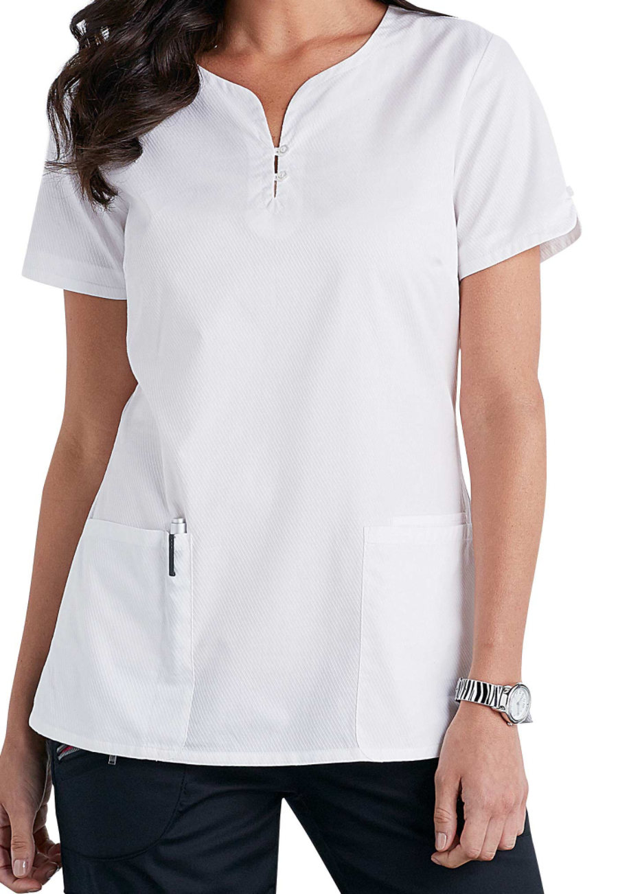Beyond Scrubs Henley Button Front Scrub Tops - White - L plus size,  plus size fashion plus size appare
