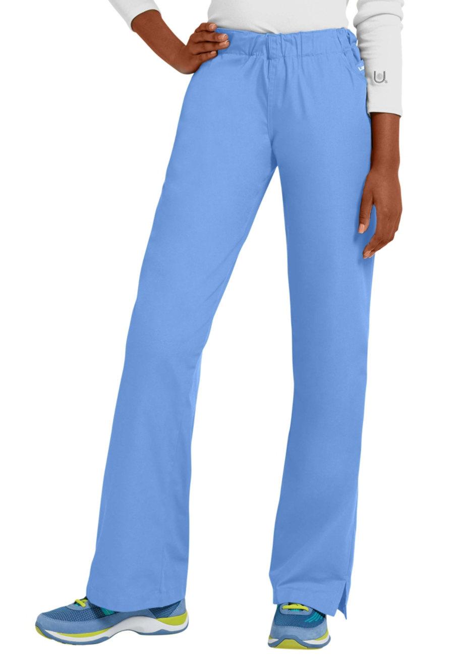 Landau Elastic Waist Flare Leg Scrub Pants - Ceil - TS plus size,  plus size fashion plus size appare