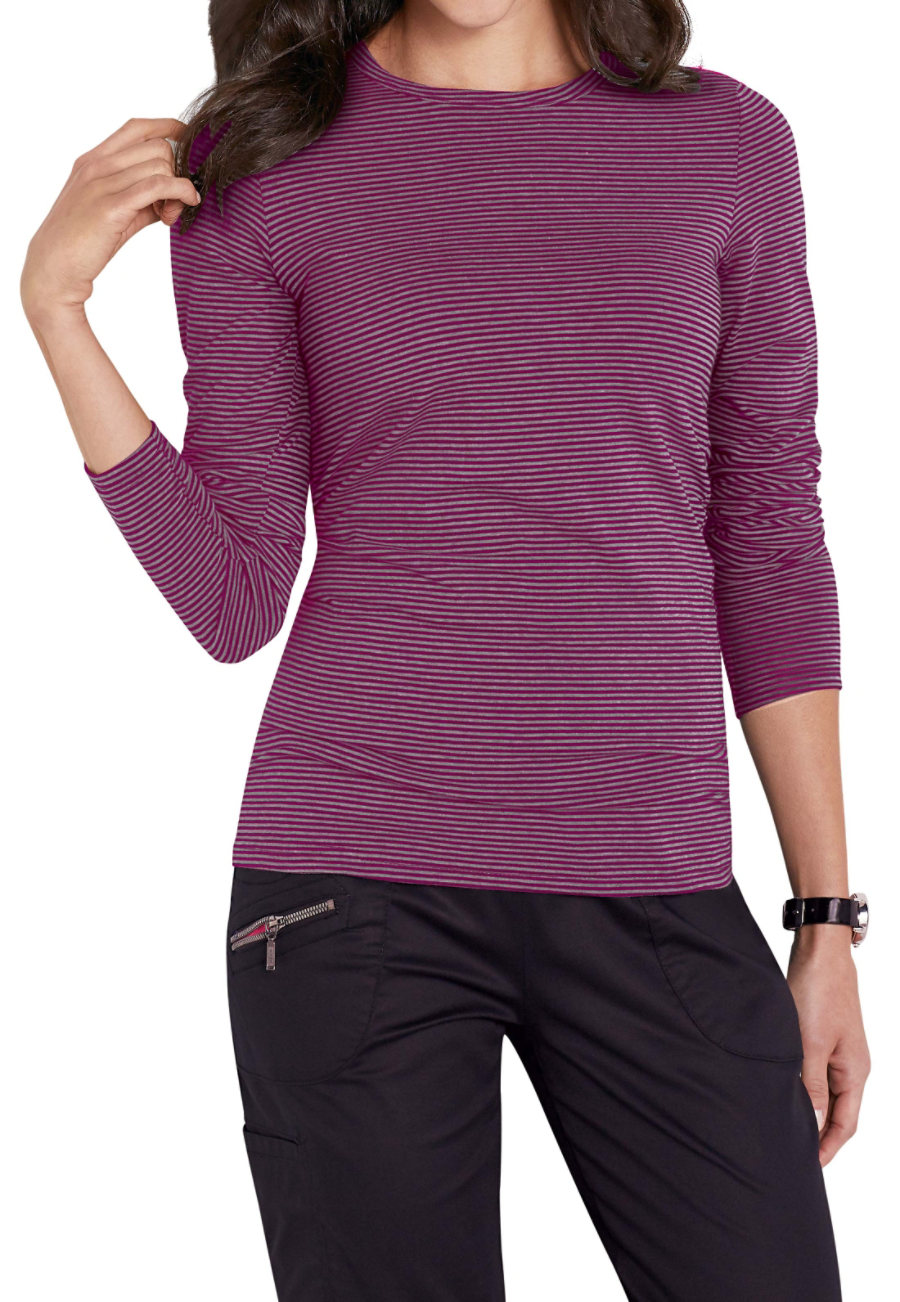 Beyond Scrubs Micro Stripe Long Sleeve Underscrub Tees - Charcoal Heather/Wine