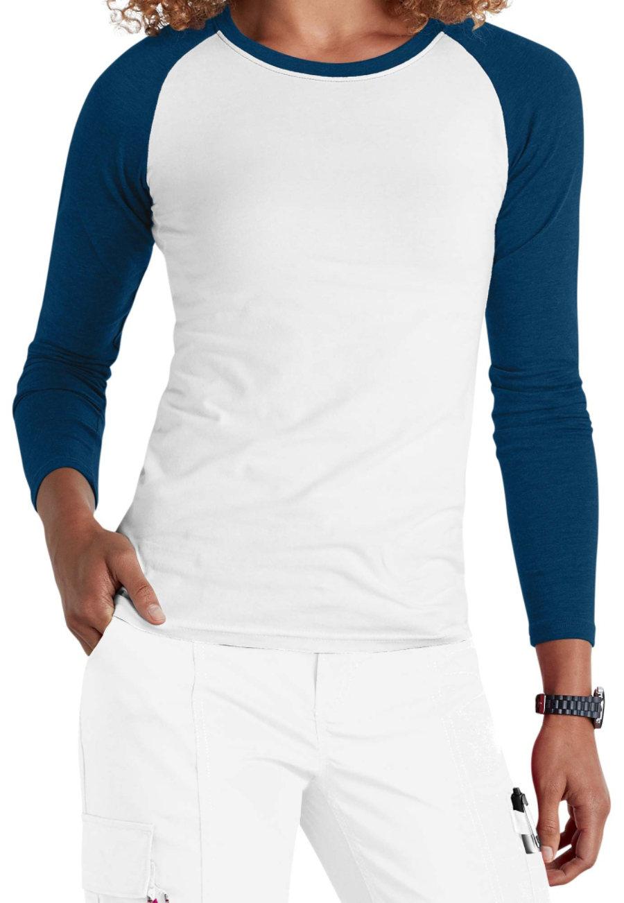 Beyond Scrubs Raglan Long Sleeve Underscrub Tees - White/navy - 2X 2070SB