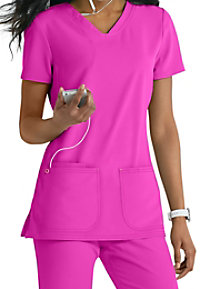 HeartSoul Pitter-Pat V-neck Media Scrub Tops