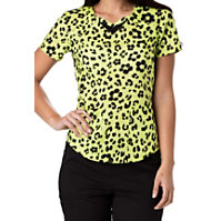 HeartSoul Wild You Were Out Sunny Lime Print Tops