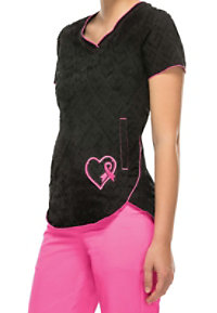 HeartSoul Girls Love Pink Breast Cancer Awareness V-neck Scrub Tops