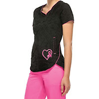 HeartSoul Breast Cancer Awareness V-neck Scrub Tops