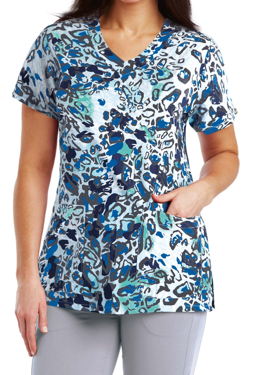 Grey's Anatomy Signature Animal Blues Print Scrub Tops