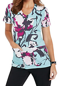 Grey's Anatomy Signature Fresh Orchid V-neck Print Scrub Tops
