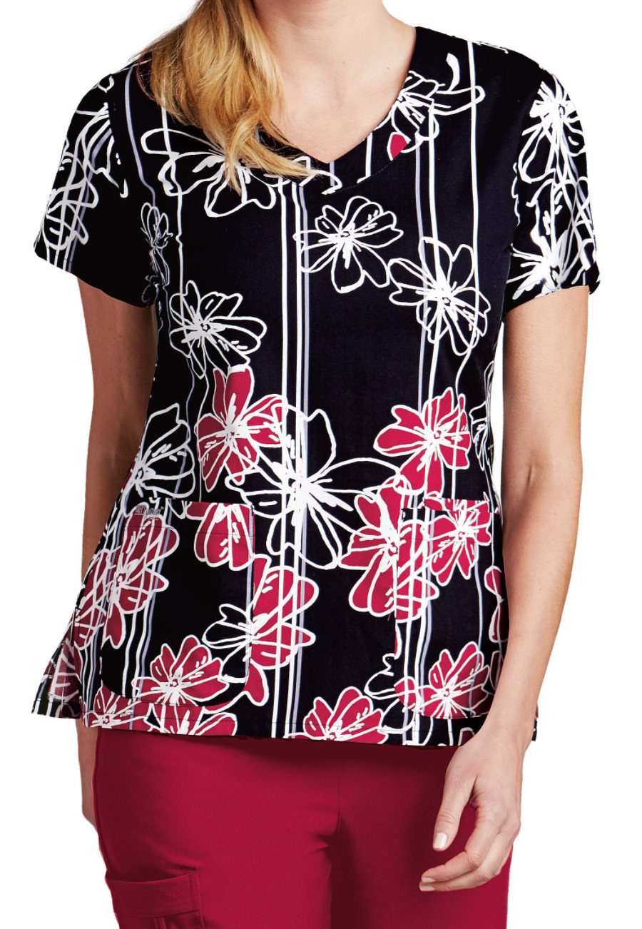 Grey's Anatomy Signature Onyx Flower V-neck Print Scrub Tops