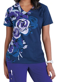 Grey's Anatomy Signature Rose Ore V-neck Print Scrub Tops