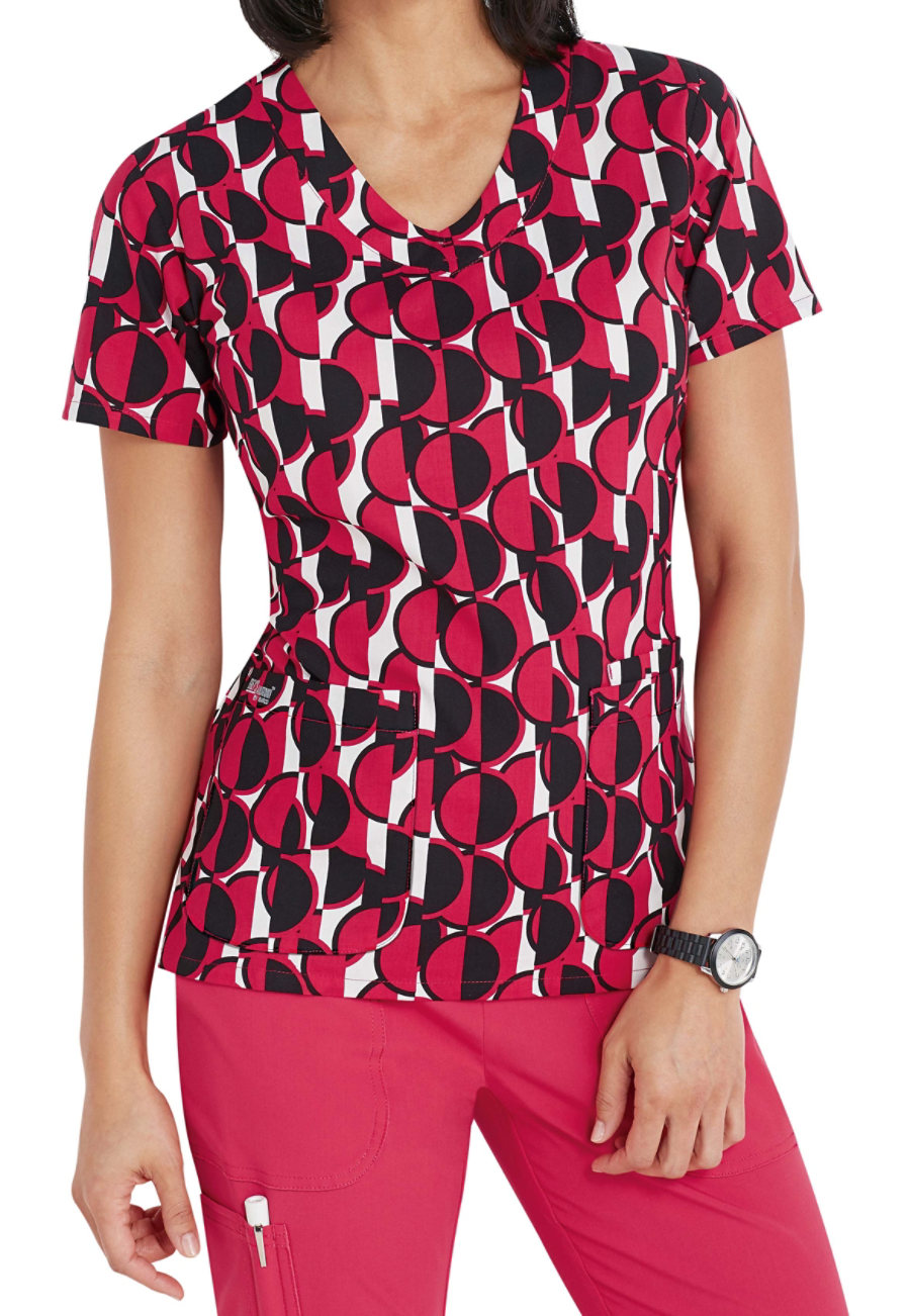 Grey's Anatomy Signature Vogue Geo Print Scrub Tops