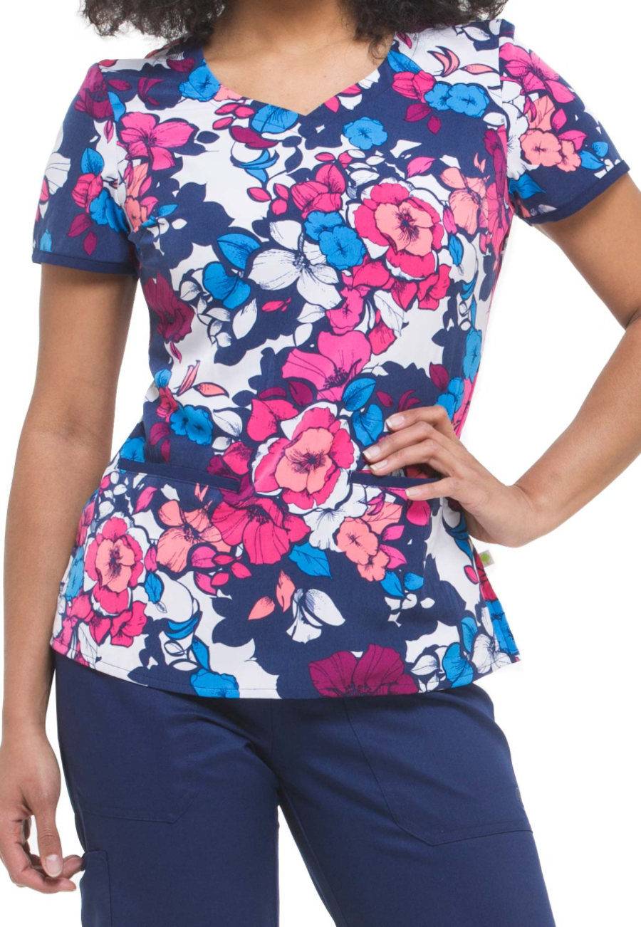 Healing Hands Purple Label Jamie Expressive Bouquet Print Scrub Tops