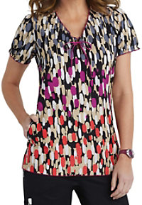 Beyond Scrubs Strokes Of Genius Keyhole Print Scrub Tops