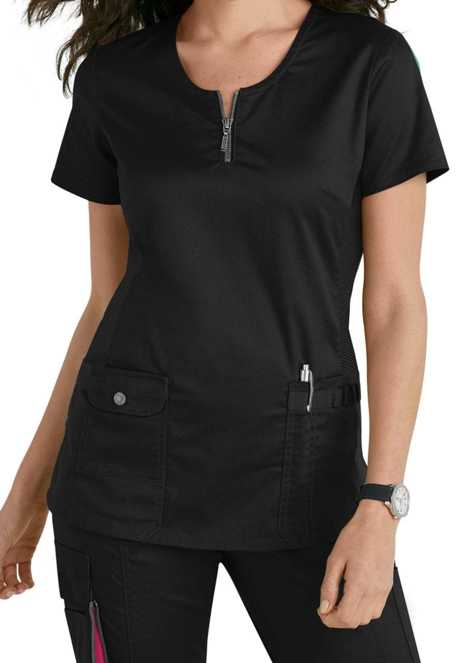 Beyond Scrubs Mia Zip Front Scrub Tops - Black - 2X plus size,  plus size fashion plus size appare