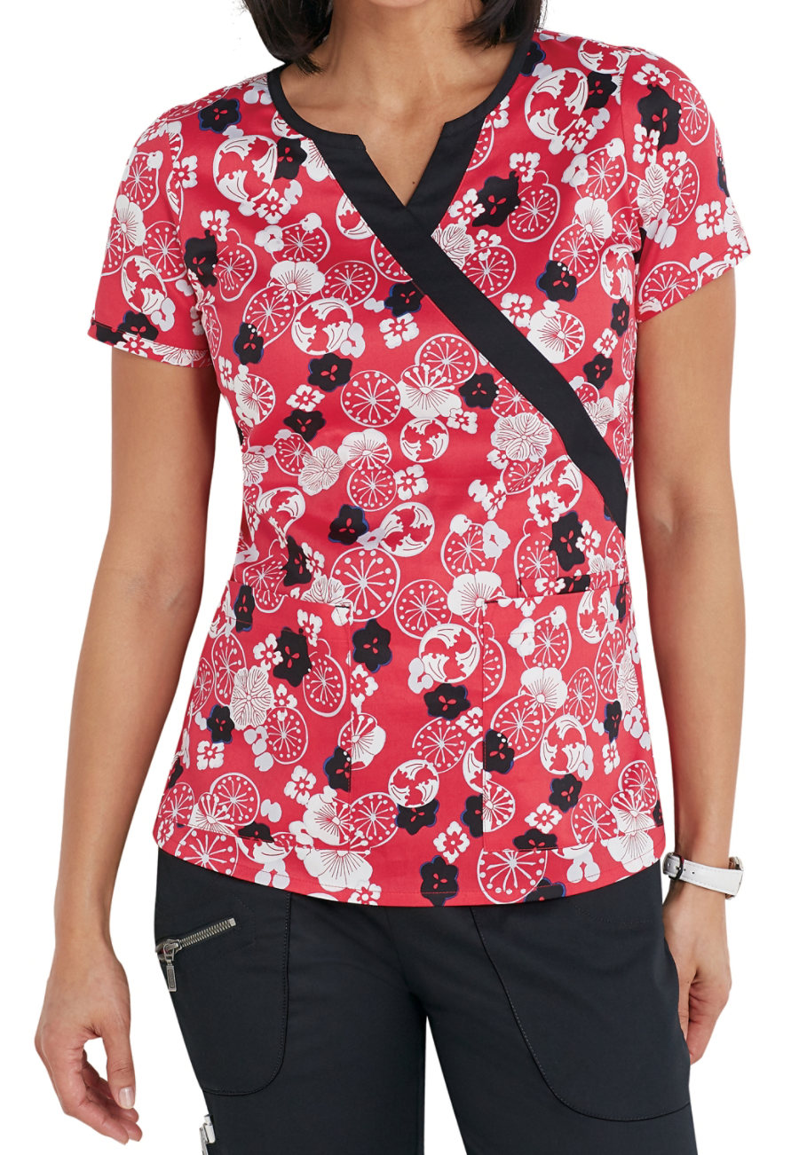 Beyond Scrubs Asian Bloom Mock Wrap Print Scrub Tops - Asian Bloom