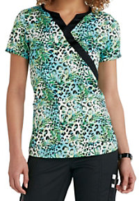 Beyond Scrubs Fern Mock Wrap Print Scrub Tops