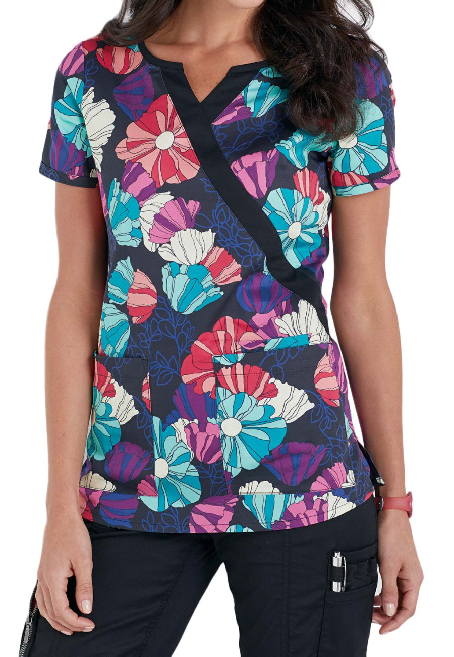 Beyond Scrubs Flower Patch Mock Wrap Print Scrub Tops - Flower Patch