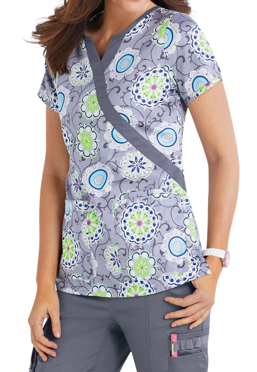 Beyond Scrubs Modern Medallion Mock Wrap Print Scrub Tops - Modern Medallion