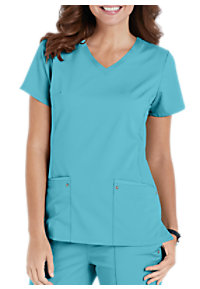 Healing Hands Purple Label Juliet V-neck Side Knit Panels Scrub Tops