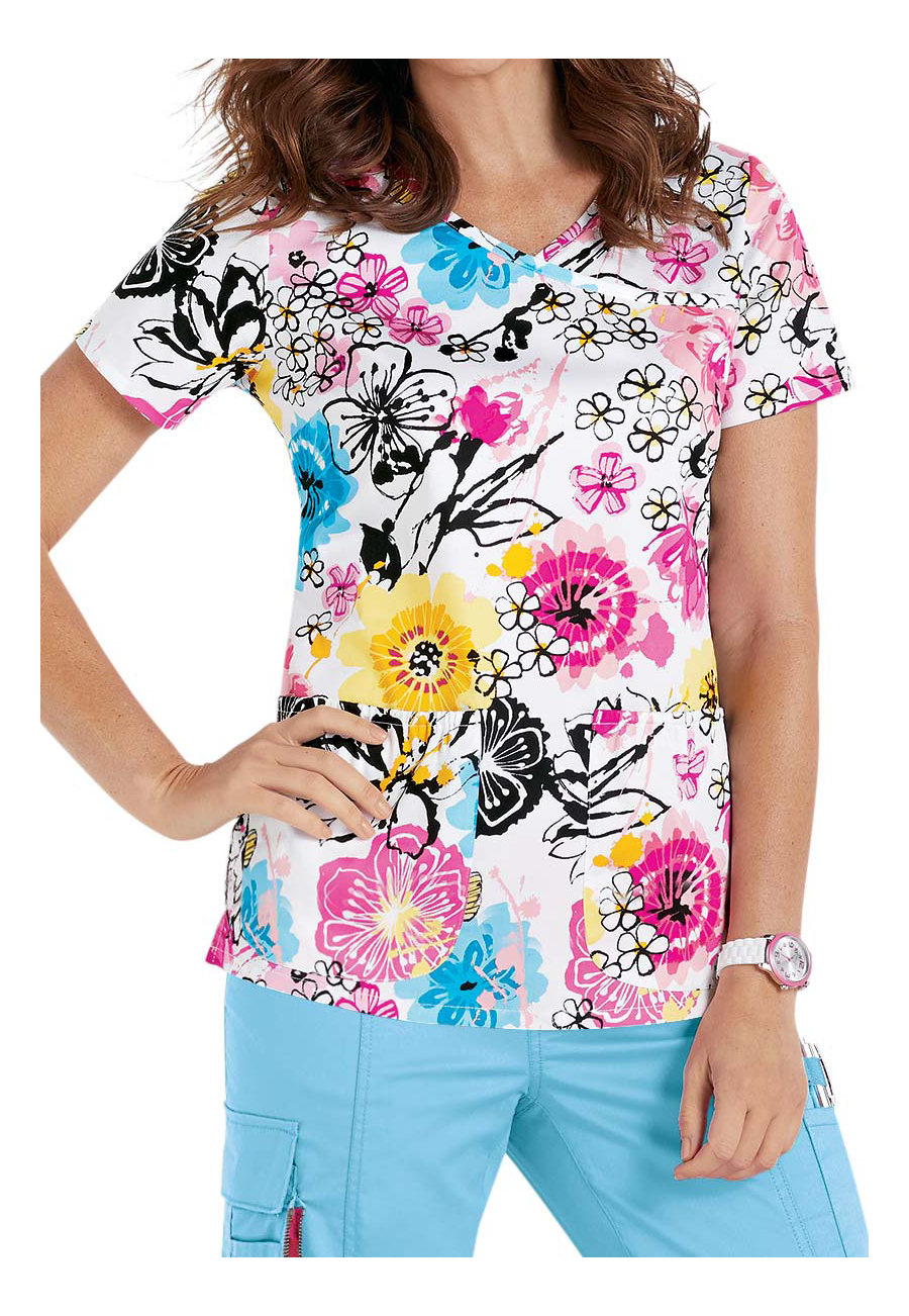Beyond Scrubs Floral Fantasy Y-neck Print Scrub Tops - Floral Fantasy