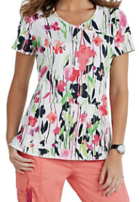 Beyond Scrubs Garden Party Y-neck Print Scrub Tops