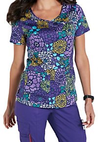 Beyond Scrubs In Bloom Crossover Print Scrub Tops