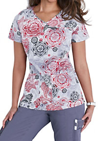 Beyond Scrubs Medallion Mania Print Y-neck Scrub Tops